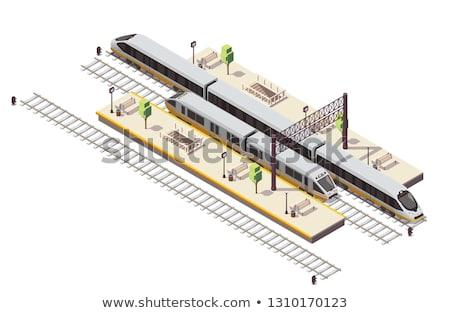 Foto stock: Ferrovia · foto · estilo · retro · pitoresco · velho · filme