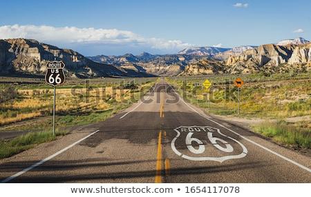道路 ルート66 道路標識 アリゾナ州 アメリカ 孤立した ストックフォト © asturianu