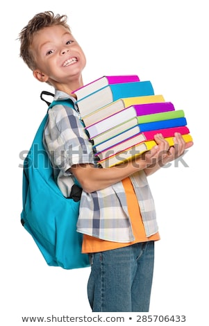 Iskolás fiú tart boglya könyvek iskola diák Stock fotó © IS2
