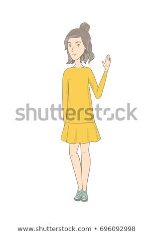 Young caucasian hippie woman waving her hand. Stock photo © RAStudio