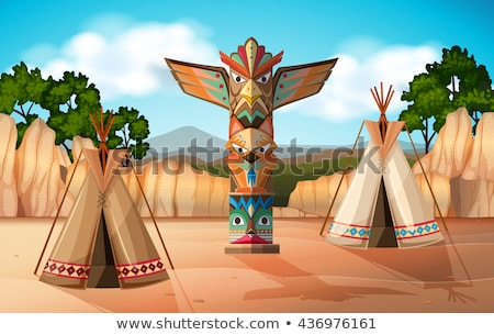 Background scene with traditional tents and totem poles Stock photo © bluering