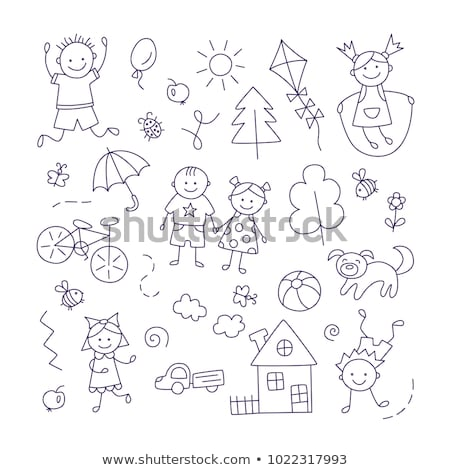 Happy family jump roping in countryside Stock photo © IS2