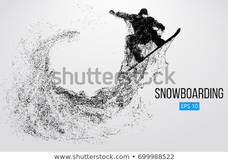 silhouette snowboarder jumping on a snowboard, winter sports Stock photo © rogistok