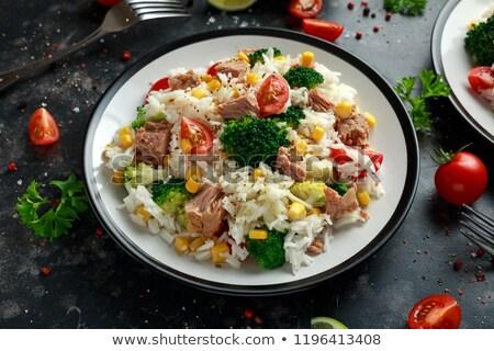 pirinç · salata · domates · salatalık · arka · plan - stok fotoğraf © m-studio