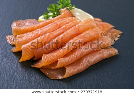 smoked salmon slices and dill stock photo © m-studio
