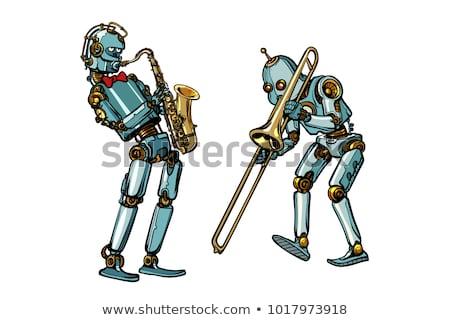 真鍮 バンド ミュージシャン ロボット サクソフォン 孤立した ストックフォト © studiostoks