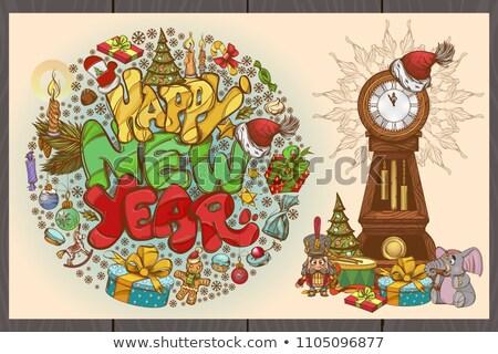 Święty · mikołaj · ciasto · christmas · gratulacje · nowy · rok · model - zdjęcia stock © popaukropa