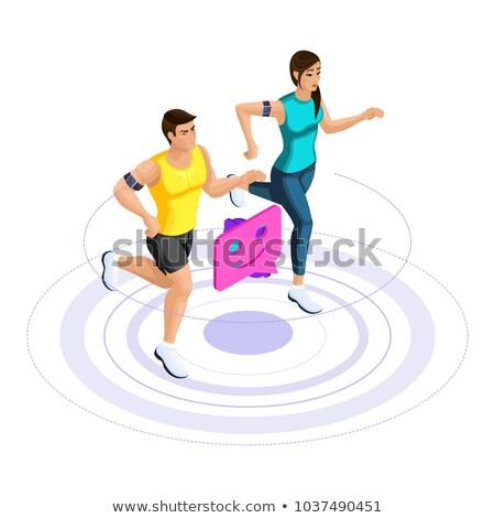 Erkek atlama yarış pisti çalışma enerji Stok fotoğraf © IS2