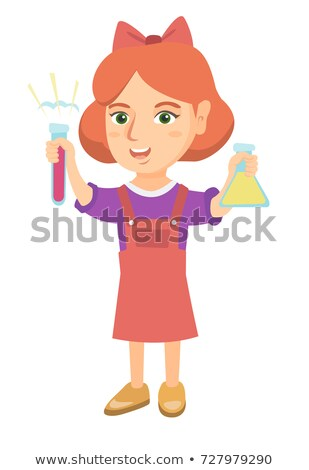 Kicsi kaukázusi lány tart kémcső főzőpohár Stock fotó © RAStudio