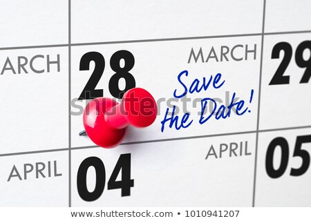 Wall calendar with a red pin - March 28 Stock photo © Zerbor