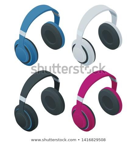 Rood draadloze hoofdtelefoon isometrische 3D icon Stockfoto © studioworkstock