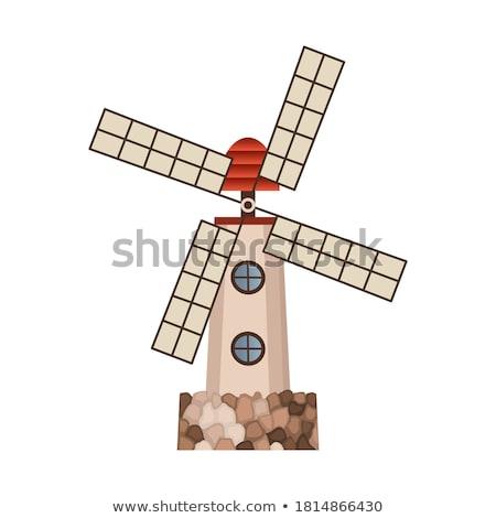 ősi fából készült szélmalom épület izolált ikon Stock fotó © studioworkstock