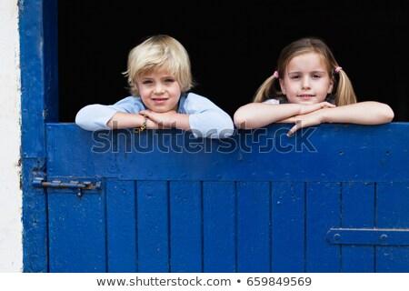 детей сарай двери девушки ворот Сток-фото © IS2