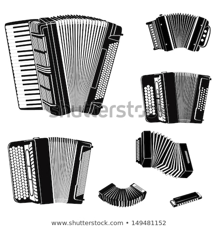 Russian and French accordion national musical instrument Stock photo © orensila