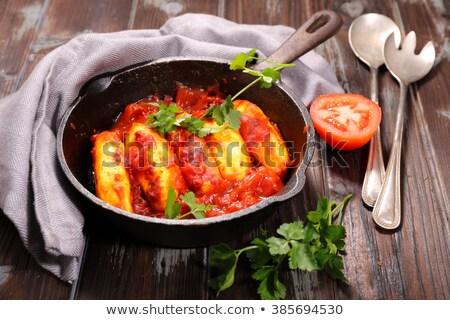 Molho de tomate madeira jantar cozinhado culinária Foto stock © M-studio