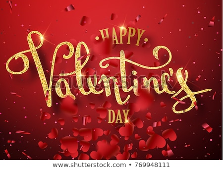 Valentines Day Design with Red Heart and Love Typography Letter on Shiny Pink Background. Vector Wed Stock photo © articular