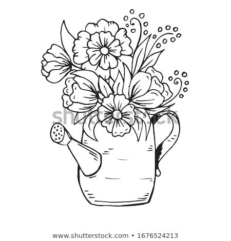 Doodle outline flowers and leafs collection for coloring Stock photo © balasoiu