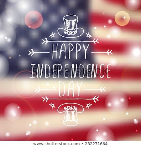 4 July Independence Day. Handwritten calligraphy text and flag usa greeting card Stock photo © orensila