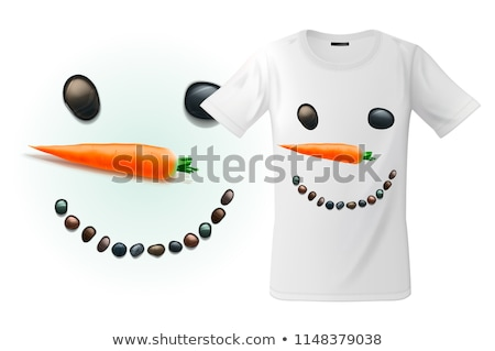 Modern t-shirt print design with funny snowman face, use for sweatshirts, souvenirs and other uses,  Stock photo © ikopylov