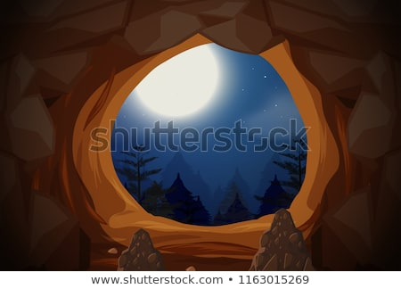Cueva entrada ilustración nubes forestales Foto stock © bluering