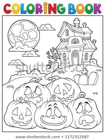 halloween · tökök · hold · fű · égbolt · textúra - stock fotó © clairev