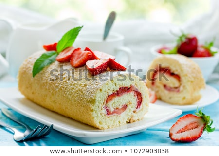 swiss roll with strawberry Stock photo © M-studio