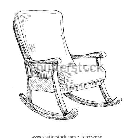 cadeira · de · balanço · isolado · branco · esboço · confortável · cadeira - foto stock © Arkadivna