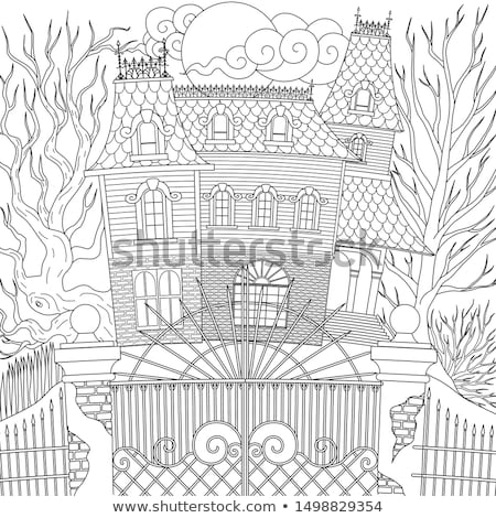 Coloring book haunted house with ghosts Stock photo © clairev