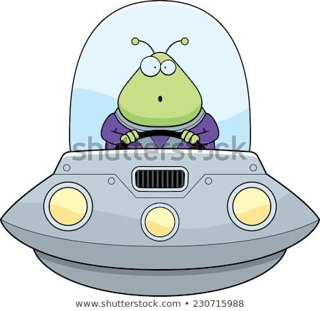 şaşırmış karikatür yabancı ufo örnek bakıyor Stok fotoğraf © cthoman