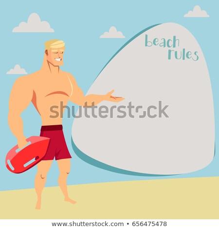 Cartoon glimlachend badmeester man hoed Stockfoto © cthoman