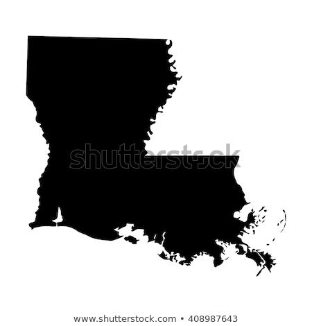 Vektor térkép Louisiana izolált feketefehér eps Stock fotó © kyryloff