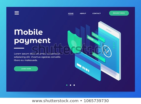 Flat isometric vector landing page header for online payment, money transfer. Stock photo © TarikVision
