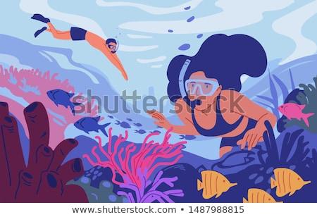 Maske şnorkel dalış yeşil mavi renk Stok fotoğraf © yakovlev