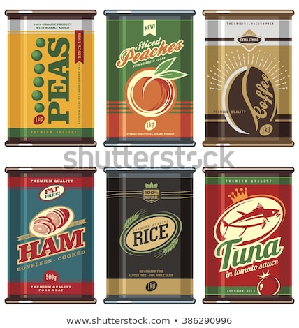 Canned Tomatoes and Peas Set Vector Illustration Stock photo © robuart