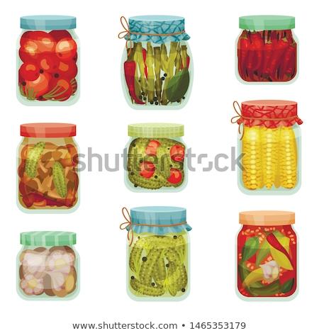 Conservato alimentare verdura manifesti testo vetro Foto d'archivio © robuart