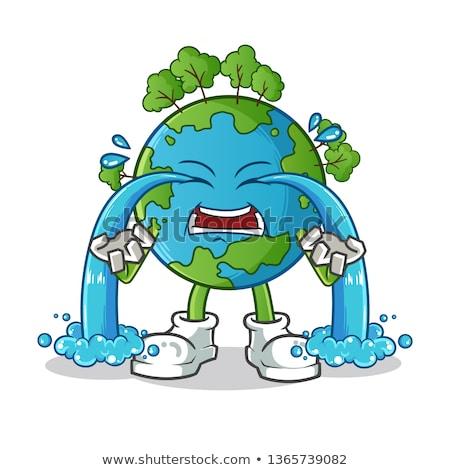 Ziemi maskotka chorych ilustracja termometr Zdjęcia stock © lenm