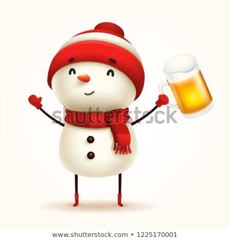 снеговик · пива · изолированный · весело · Kid - Сток-фото © ori-artiste