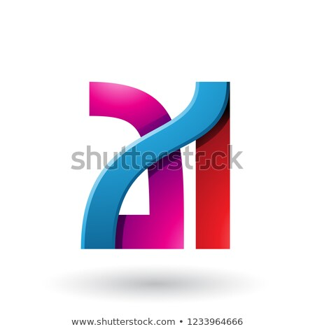 Blue and Red Bold Dual Letters A and I Vector Illustration Stock photo © cidepix