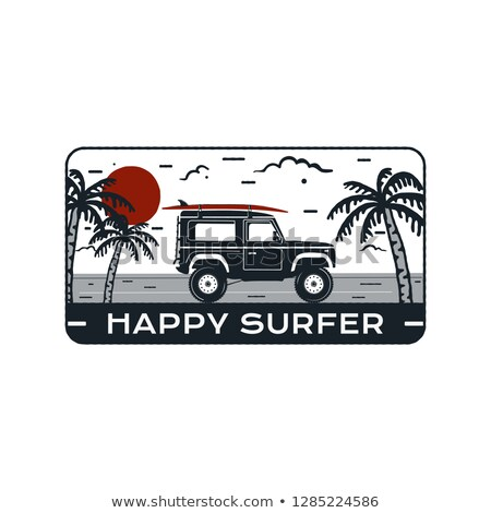 surfing logo emblem vintage hand drawn travel badge poster featuring surf car riding on the beach stock photo © jeksongraphics