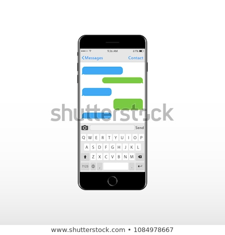 Stock photo: Virtual key board for mobile phone with place for text chat text boxes. Keypad alphabet and numbers.