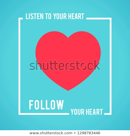 Symbolic red heart calling to be empathetic and blue background Stock photo © ESSL
