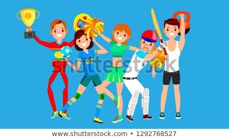 Athlete Set Vector. Man, Woman. Handball, Cheerleader, Baseball, Fitness Man. Group Of Sports People Stock photo © pikepicture