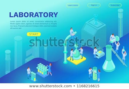 Biotechnológia leszállás oldal tudósok néz DNS Stock fotó © RAStudio