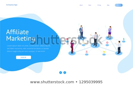 Flat isometric vector landing page template of affiliate marketing. Stock photo © TarikVision