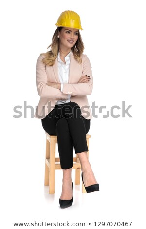 female engineer student sits on chair and looks to side Stock photo © feedough