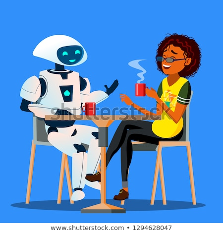 Robot Having A Good Time With Friend Woman At Table In Cafe Vector. Isolated Illustration Stock photo © pikepicture