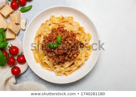 Portion of tagliatelle with bolognese sauce Stock photo © Alex9500