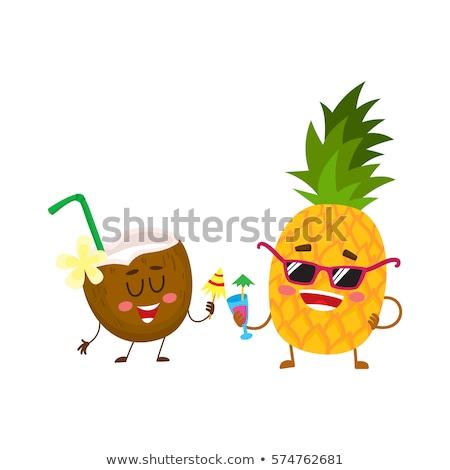 Fruta tropical desenho animado ícones moderno comida fitness Foto stock © netkov1