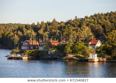 Sztokholm spadek widoku starych miasta kościoła Zdjęcia stock © 5xinc