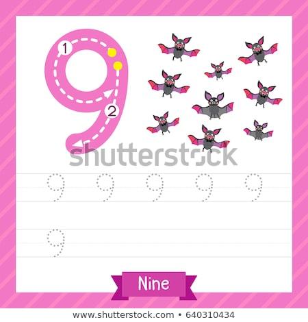 Number nine tracing worksheets Stock photo © colematt